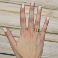 Set of 7 Thin Texturized Rings - Gold