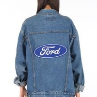 Vintage Ford Button-down Denim Jacket with Embroidered Detai