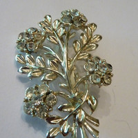 Vintage Rhinestone Flower Bouquet Brooch Silver Pin Costume Jewelry Bride Wedding Prom