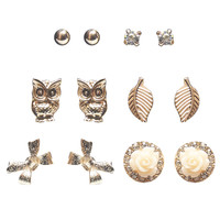 Owl Leaves Button Earring 6-Pack | Wet Seal