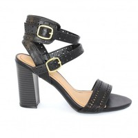 Cutout Heeled Sandals Black