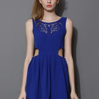 Blue Artistic Waist Cut Out Sleeveless Dress