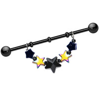 Handcrafted Black Titanium Glittering Stars Dangle Industrial Barbell | Body Candy Body Jewelry