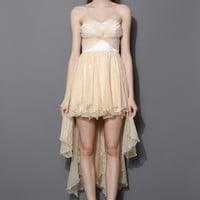 Nude Twisted Bustier Waterfall Prom Dress