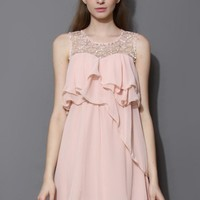 Pink Pixie Embellished Frilling Chiffon Dress