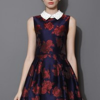 Red Blooming Rose Pearly Collar Skater Dress