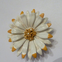 Vintage Enamel Daisy Flower Brooch Painted White and Yellow 1950s 1960s Costume Jewelry Spring Summer