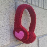 Handmade, Vegan Heart Crocheted Valentine Headphones - Red with Pink Heart