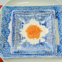 Dinnerware set, appetizer plate, first course plates, elephant plates, lotus flower plates, denim blue, tangerine, casual elegance,