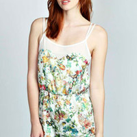 Lillie Floral Chiffon Trim Cami Playsuit