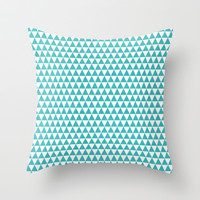 triangles - aqua and white Throw Pillow by her art