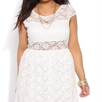 Plus Size Lace A Line Dress with Cap Sleeves and Illusion Bodice