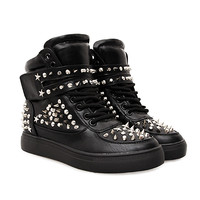 Enforcer Black Spiked Wedge Sneakers (OUT OF STOCK)