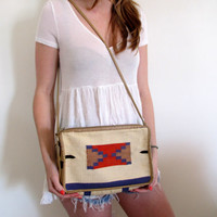 Vintage Tribal Print Purse Bag Handbag Beige Cream White Aztec Mexican Red Boho Bohemian Long Short