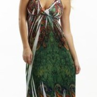 Halter Top Maxi Dress / Coverup with Metal Detail in Silky 'ITY' Fabric in Sizes Small - 4x