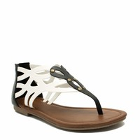 Colorblock Laser Cut-Out Sandals
