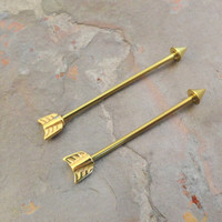 Gold Arrow Industrial Barbell Piercing Upper Double Ear Piercing