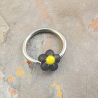Black Daisy Flower Cartilage Hoop Earring or Belly Button Ring