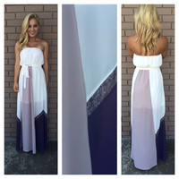 Cream & Purple Esme Silk Strapless Maxi Dress