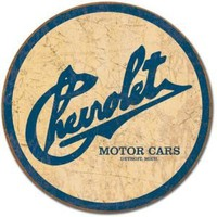 Chevy Historic Logo Round Metal Tin Sign 11.75&amp;quot; Dia.