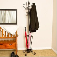 Black Metal Scroll Hall Tree Coat Hat Rack Stand Foyer Umbrella Sei Hp0375R