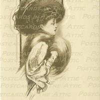 Elegant Lady in Merry Widow Hat Sepia/Sienne - DIGITAL Art - Scrapbooking, Card Making & Crafts - INSTANT DOWNLOAD
