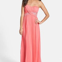 Way-In Embellished Pleat Strapless Gown (Juniors) | Nordstrom