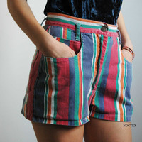 Vintage 90s Denim Color Stripes High Waisted Shorts by Noctex