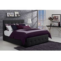 Walmart: DHP Florence Full Tufted Faux Leather Upholstered Bed with Headboard, Black