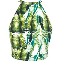 Green tropical palm print crop top