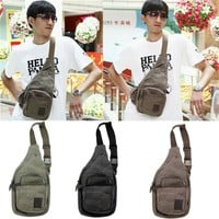 Men's Bags Canvas Chest Men Sport Bag Army Green by martEnvy