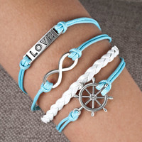 Infinity Anchor Rudder Love Leather Nautical Handmade Friendship Charm Bracelet