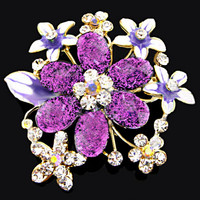 Vintage Purple Lot Rhinestone Crystal Silver Bridal Bouquet Flower Brooch Pin