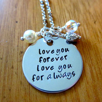 "Mother's Day ""Love You Forever"" Necklace. Hand stamped silver colored pendant, Swarovski crystal, pearl & charm."