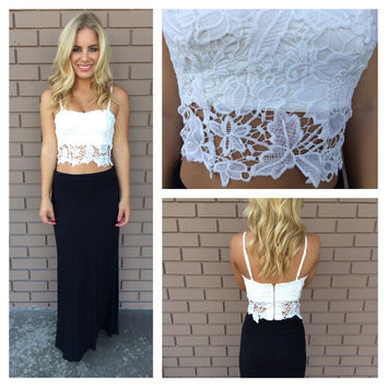 White Jacklyn Crochet Lace Crop Top
