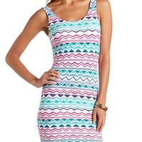 TRIBAL CHEVRON PRINT BODYCON TANK DRESS