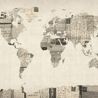 Map of the World Map from Old Postcards Stretched Canvas by ArtPause | Society6