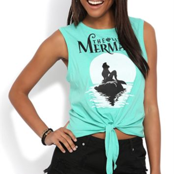 Tie Front Tank Top with Little Mermaid Screen