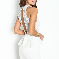 HIGH NECK LACE PEPLUM DRESS