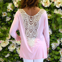 Sweet Pea Pink Crochet Back Tunic