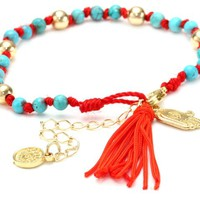 Blee Inara Turquoise and Gold Small Beads Bracelet with Hamsa and Tassel Red