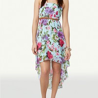 Floral Belted High Low Dress