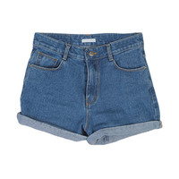 Roll-Up Blue Denim Shorts