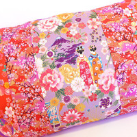 Japanese print pillowcase cushion cover with Geisha mount Fuji, fans and flowers. red purple colorful multicolored