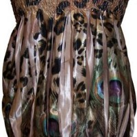 Leopard Print Gold Sublimation Satin Scarf Tube Top Jr. Plus Size