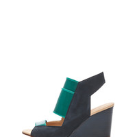 Leather Wedges in Blue & Green