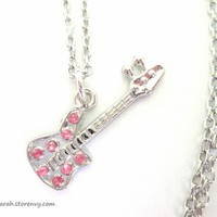 Rocker Girl Guitar Charm Necklace with Pink Rhinestones from StarlightSarah