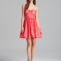 AQUA Dress - Strapless Lace Overlay Fit and Flare