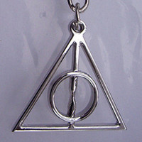 Silver metal Deathly Hallows Symbol keychain by qizhouhuang