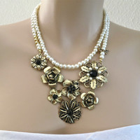 Nostalgia Wedding Bridal Necklace Rustic Country Wedding Gold Floral Cream Pearl Vintage Style Jewelry